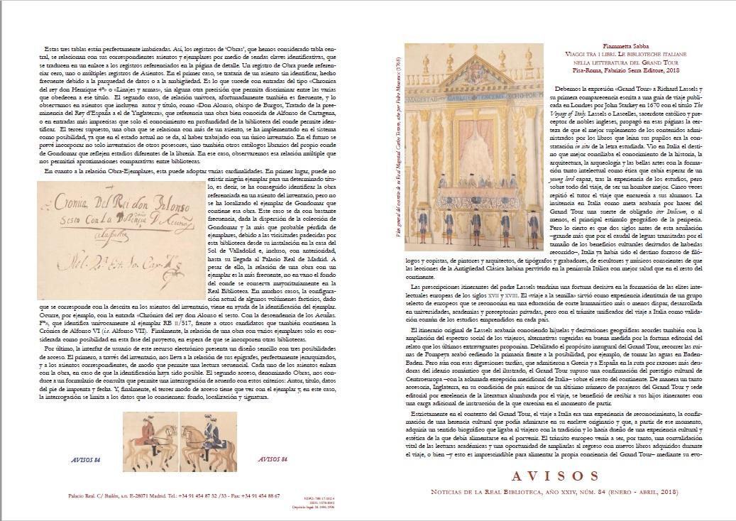 Cubierta de Avisos : Noticias de la Real Biblioteca