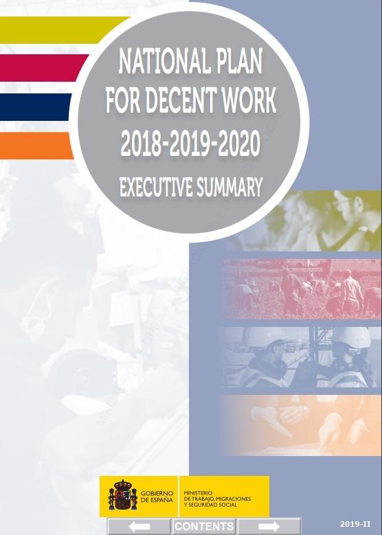 Cubierta de National plan for decent work 2018-2019-2020: executive summary