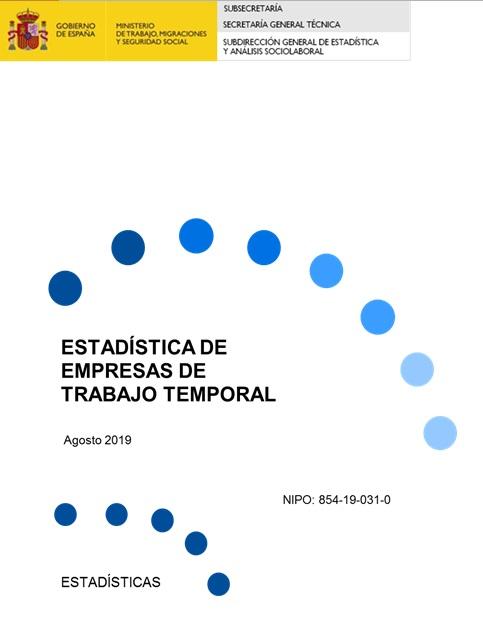 Cubierta de Estadística de Empresas de Trabajo Temporal