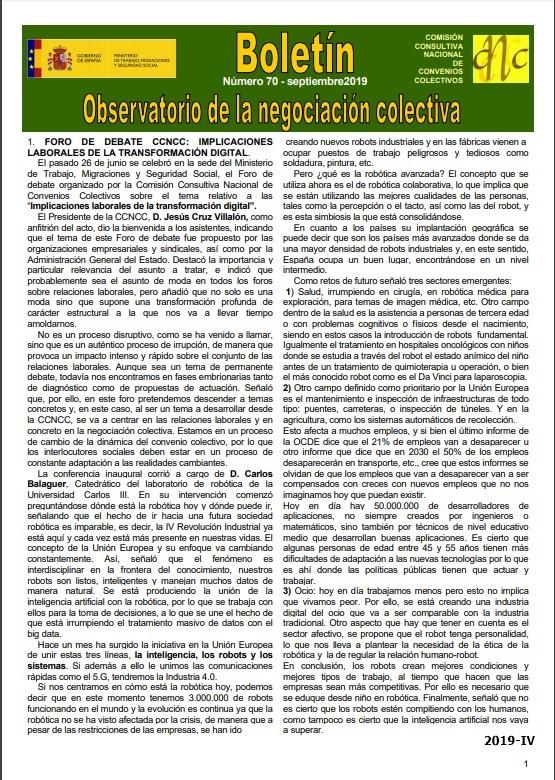 Cubierta de Observatorio de la Negociación Colectiva : Boletín
