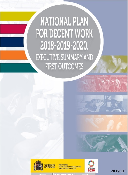Cubierta de National plan for decent work 2018-2019-2020: executive summary and first outcomes